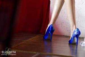 custom blue bridal shoes