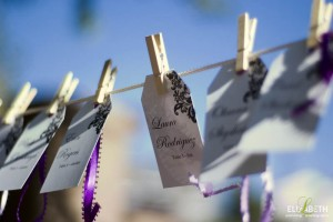 custom escort cards hanging on a line