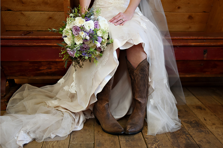 bridal bouquet, cowboy boots, ivory, lavender, lace dress