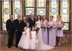 bridal party, wedding party photos, group photo, church,evergreen barn wedding, mountain wedding planner, wedding planning colorado,