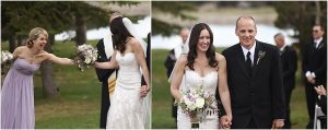 bride and groom recessional,evergreen barn wedding, mountain wedding planner, wedding planning colorado,