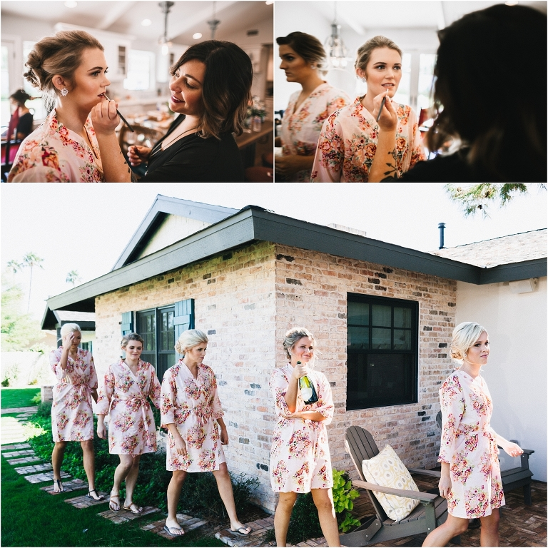 scottsdale wedding planner, bride getting ready, arizona weddings, bridesmaids, floral robes, hair and makeup