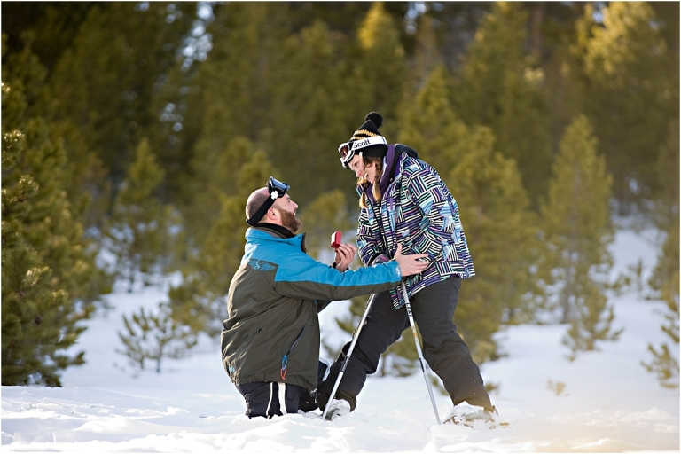 colorado proposal photography, proposal on skis, breckenridge, she said yes