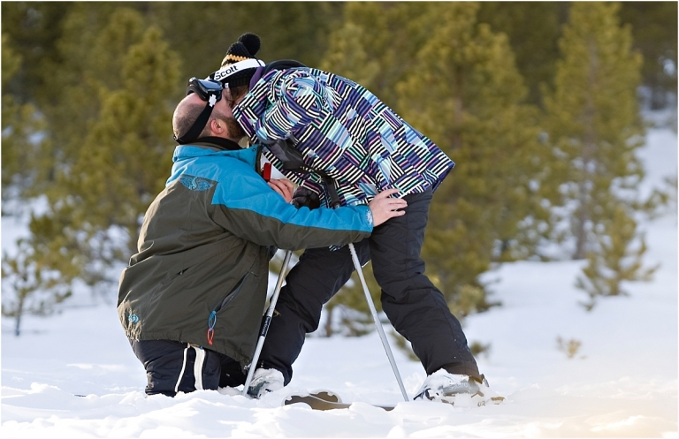 couple kissing in the snow, skiing proposal, winter, mountain photography, breckenridge engagement photographer