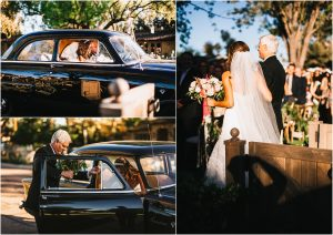 bride with father of the bride, riding to ceremony in vintage ford, scottsdale wedding planner, getaway car