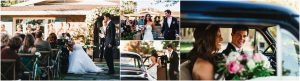 backyard wedding ceremony, scottsdale wedding planner, outdoor ceremony, recessional, bride and groom become husband and wife, getaway car, vintage ford