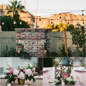 reception details, outdoor reception, scottsdale wedding planner, arizona weddings, market lights, centerpieces, best day ever sign, lanterns on tables, la tavola linens