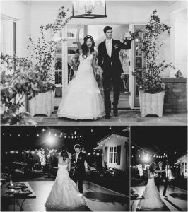 outdoor reception, scottsdale wedding planner, arizona weddings, black and white image, grand entrance, bride and groom, first dance, outdoor dance floor