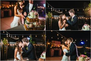 cutting the cake, bride and groom kissing,outdoor reception, scottsdale wedding planner, arizona weddings