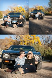 couples portraits in front of muscle car, classic car, vintage mustang,clear creek history park, golden colorado engagement session, autumn, l elizabeth events, colorado engagement photography, mountain engagement photographer