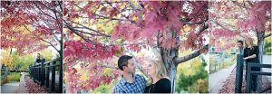 couple smiling at each other under red tree,clear creek history park, golden colorado engagement session, autumn, l elizabeth events, colorado engagement photography, mountain engagement photographer