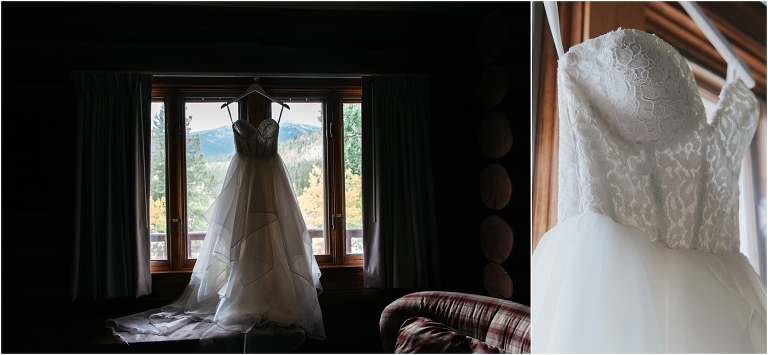 bridal gown hanging in window, bride getting ready, dao house, estes park, colorado wedding planner, mountain wedding planning