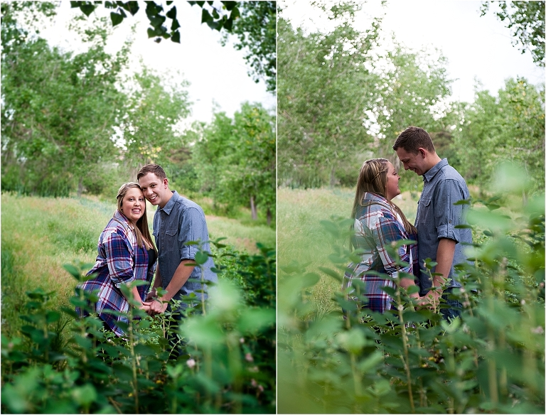Couple in tall grass, Denver Engagement Session, Commons Park, Millennium Bridge, Colorado Engagement Photographer