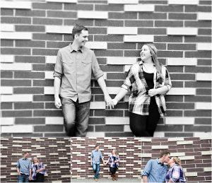 couple against brick wall, portraits,Denver Engagement Session, Commons Park, Millennium Bridge, Colorado Engagement Photographer