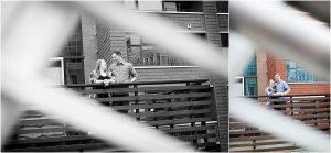 couples portraits, urban portrait session,Denver Engagement Session, Commons Park, Millennium Bridge, Colorado Engagement Photographer, black and white photo