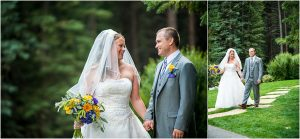 first look, bride and groom walking holding hands,donavon pavilion, colorado wedding photographer, mountain wedding photography, vail weddings, purple and yellow bouquet