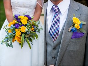 bride and groom, details, purple and yellow floral, bridal bouquet, boutonniere, checkered tie, gray suit, donavan pavilion vail, colorado wedding photography, mountain wedding photographer