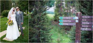 donavon pavilion, colorado wedding photographer, mountain wedding photography, ski slope signs, bride and groom