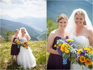 bridal party portraits, top of vail mountain, donavan pavilion, purple and yellow bouquets, bride and maid of honor, mountain wedding photographer, colorado wedding photographer
