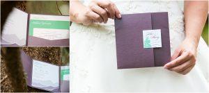 invitation suite, purple envelope, details,donavan pavilion, mountain wedding photographer, vail wedding photography, colorado weddings