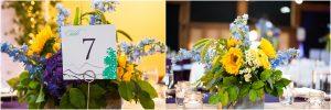 reception details, yellow and purple floral decor, table centerpieces, donavan pavilion, mountain wedding photographer, vail wedding photography, colorado weddings