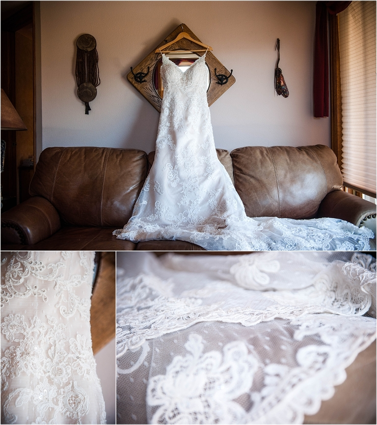 getting ready details, wedding dress, bridal gown, hotel room, steamboat springs, colorado wedding photographer, mountain wedding photography