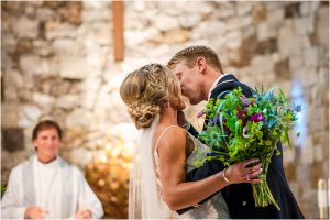 first kiss,church ceremony, steamboat springs, mountain wedding, colorado wedding photographer