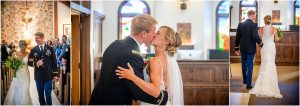 bride and groom kissing in back of church,church ceremony, steamboat springs, mountain wedding, colorado wedding photographer