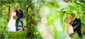 bride and groom under the trees, kissing, intimate moments, wedding day portraits, steamboat springs park, colorado wedding photography, mountain wedding photographer
