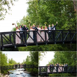 bridal party, wedding party portraits on bride in park, steamboat springs, river, colorado wedding photographer, mountain wedding photography