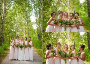 bridal party, bride and bridesmaids, formal portraits, under the trees in the park, pink bridesmaids gowns, laughing, steamboat springs, colorado wedding photographer, mountain weddings