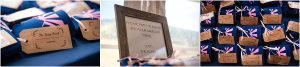 reception details, wedding favors, beer coozies, guestbook sign, decor, white and navy, mountains, tented reception, steamboat springs resort, colorado wedding photography, mountain wedding photographer