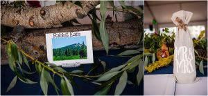 reception details, floral decor, centerpieces, white and navy, mountains, tented reception, steamboat springs resort, colorado wedding photography, mountain wedding photographer