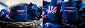 beer coozies, navy and pink, wedding favors, reception details, steamboat springs, colorado wedding photographer