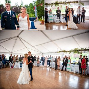 grand entrance, wedding reception, first dance, tented reception space, steamboat springs resort, bride and groom, military wedding, dress blues, colorado wedding photographer, mountain wedding photographer
