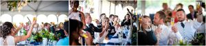 wedding guests, toasts, wedding reception, maid of honor, tented reception space, steamboat springs resort, bride and groom, military wedding, dress blues, colorado wedding photographer, mountain wedding photographer