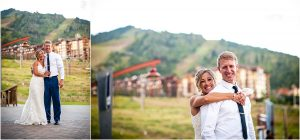 bride and groom outside, reception, steamboat springs resort, ski slopes, mountain town, colorado wedding photographer