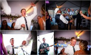 live band, dancing, reception, wedding guests having fun, tented reception, steamboat springs, colorado wedding photographer