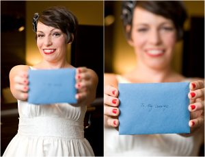 bridal portraits, colorado wedding coordinator, colorado wedding photographer, getting ready, crawford hotel, union station, gift for groom, envelope