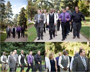 colorado wedding coordinator, colorado wedding photographer, cheesman park denver, groom and groomsmen, guests arriving