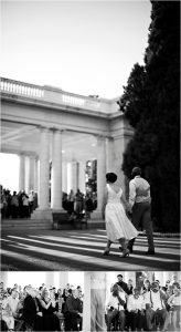 bride and groom walking to ceremony, black and white photography, colorado wedding coordinator, colorado wedding photographer, cheesman park denver