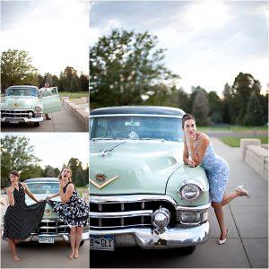 getaway car, vintage cadillac, colorado wedding coordinator, colorado wedding photographer, cheesman park denver, sassy portraits