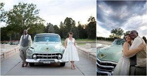 getaway car, vintage cadillac, colorado wedding coordinator, colorado wedding photographer, cheesman park denver, vintage bridal portraits
