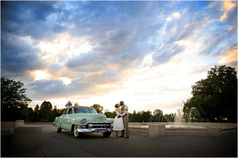 getaway car, vintage cadillac, colorado wedding coordinator, colorado wedding photographer, cheesman park denver, sunset, bride and groom portraits