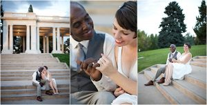 fingers linked, colorado wedding coordinator, colorado wedding photographer, cheesman park denver, cheesman pavilion, steps, bride and groom portraits