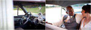 getaway car, vintage cadillac, hanging dice, colorado wedding coordinator, colorado wedding photographer, cheesman park denver