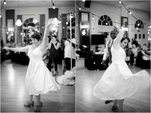first dance, black and white image, swing dancing, lindy hop, vintage wedding, colorado wedding photographer, colorado wedding coordinator, the turnverein, denver