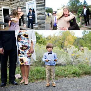 wedding guests arriving to outdoor ceremony, clear creek history park in golden, colorado wedding photographer, mountain wedding planning