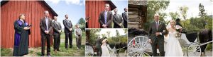 outdoor ceremony at clear creek history park in golden colorado, red barn, rustic wedding, country wedding, bride arriving by horse and carriage, processional, colorado wedding photographer, mountain wedding planner