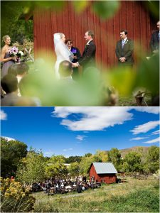 outdoor ceremony in front of rustic red barn at clear creek history park in golden, wide shot of ceremony location, bride and groom, reverend kim tavendale wedding officiant, colorado wedding photographer